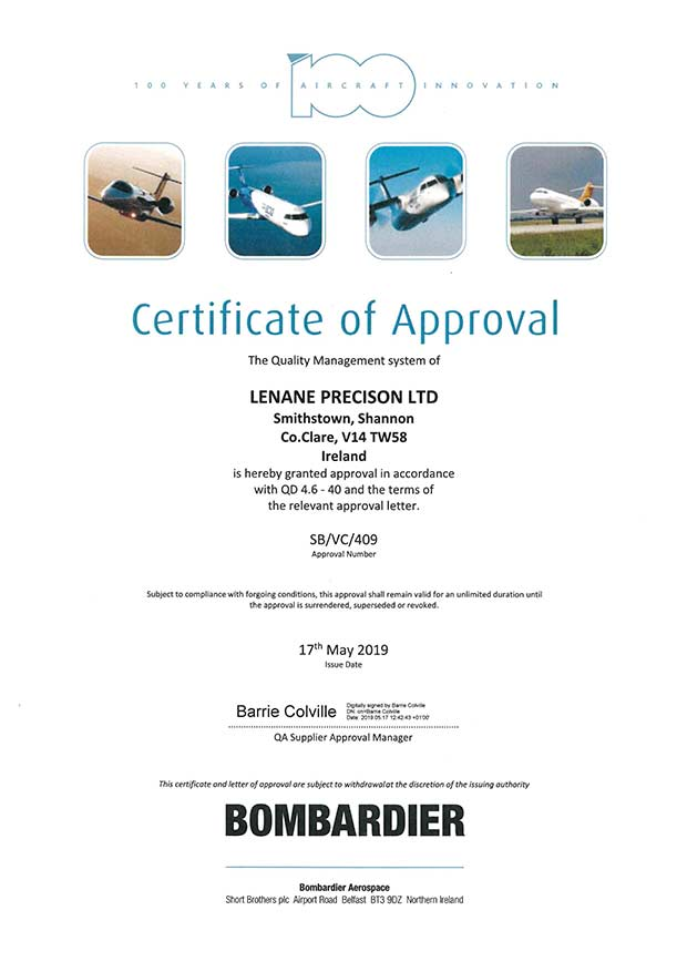Bombardier Certificate of approval